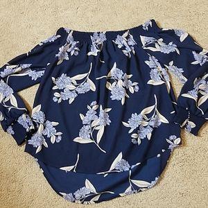 Express navy blue flower print off shoulder top